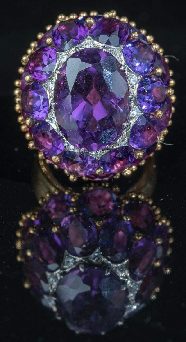 Estate Amethyst, Diamond, 18k Gold Cocktail Ring