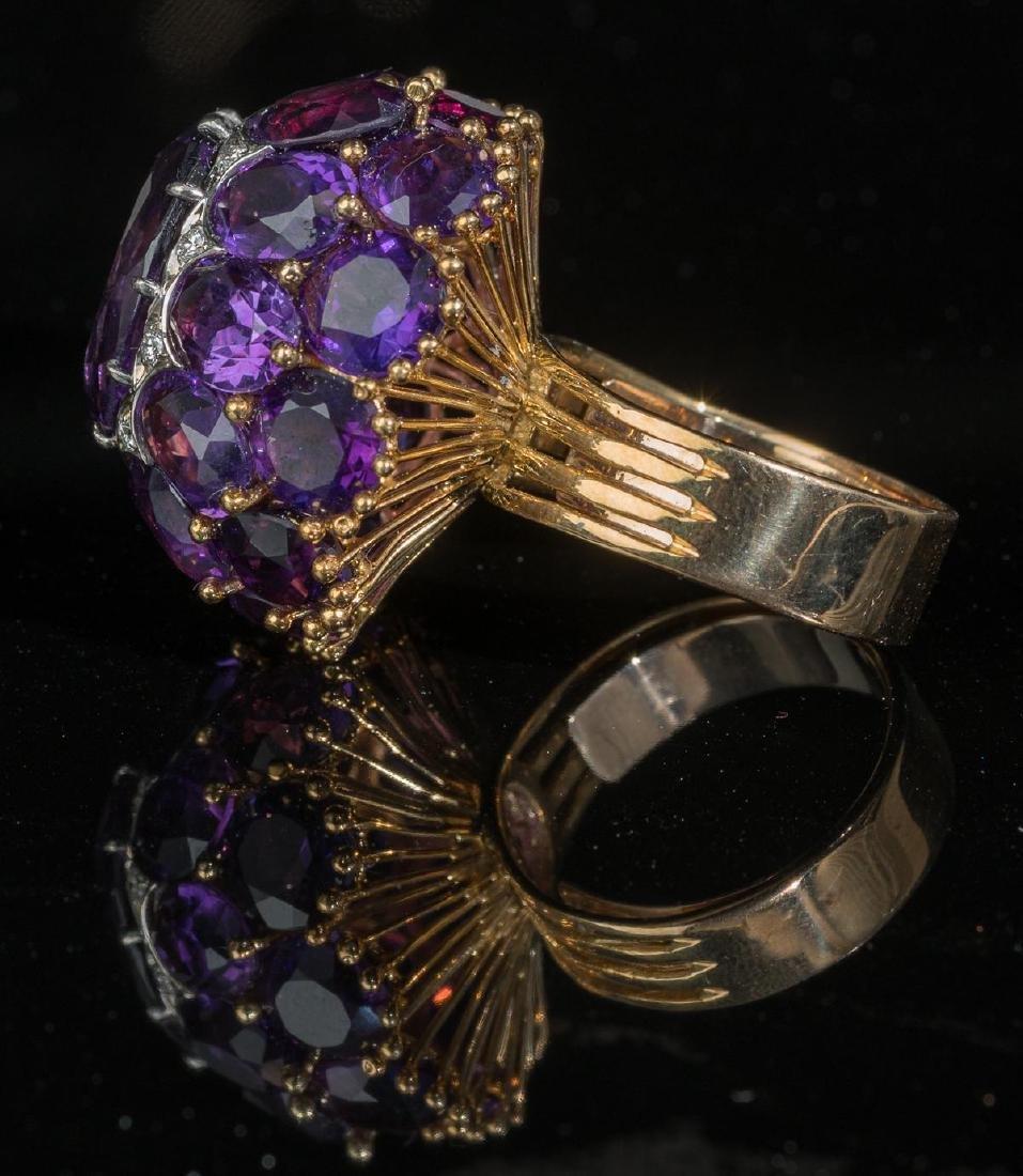 Estate Amethyst, Diamond, 18k Gold Cocktail Ring - 2