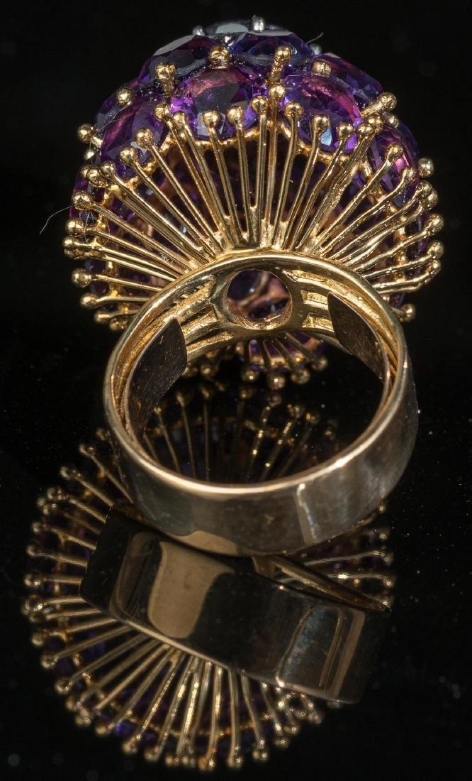 Estate Amethyst, Diamond, 18k Gold Cocktail Ring - 3