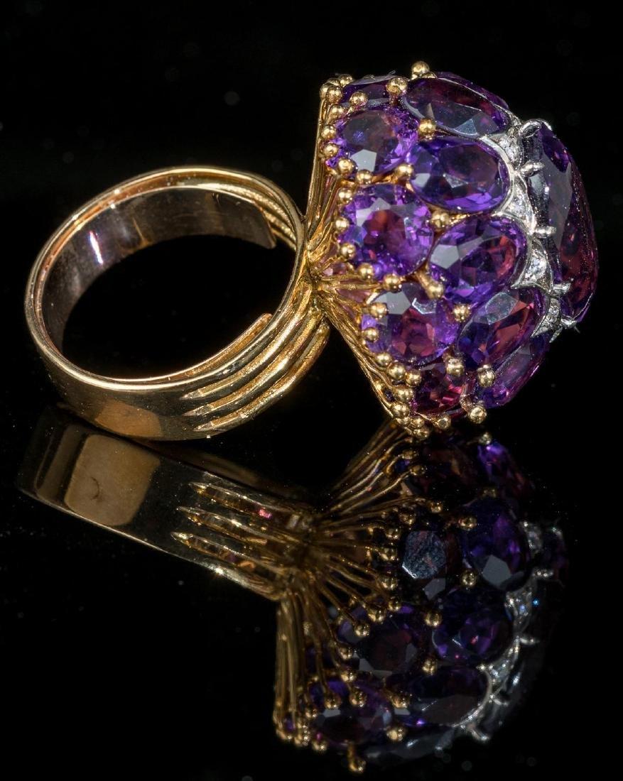 Estate Amethyst, Diamond, 18k Gold Cocktail Ring - 4