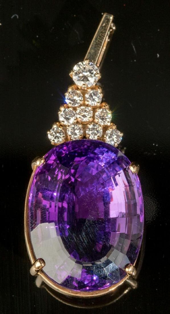 Diamond, Amethyst & 14k Gold Pendant