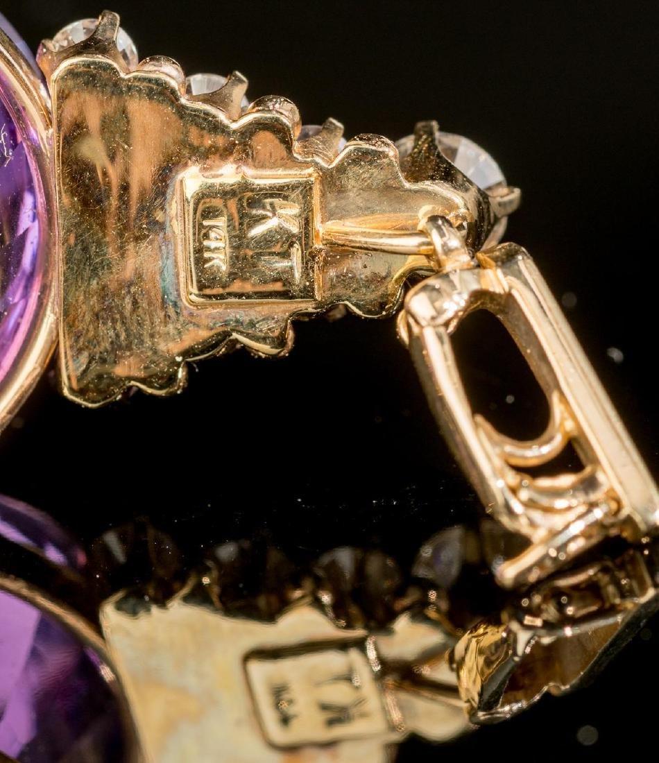 Diamond, Amethyst & 14k Gold Pendant - 4