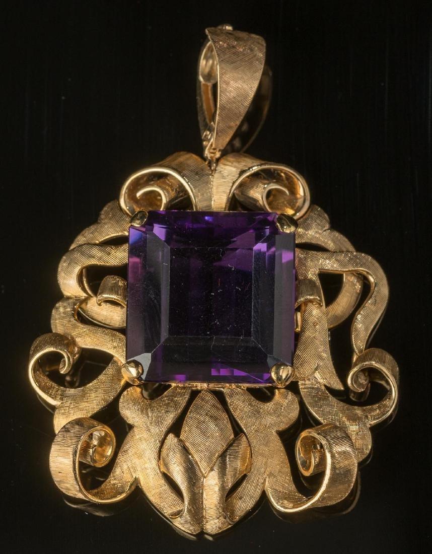 Estate Purple Amethyst & 14k Gold Pendant