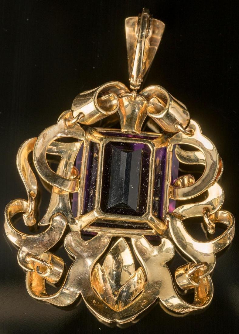 Estate Purple Amethyst & 14k Gold Pendant - 2