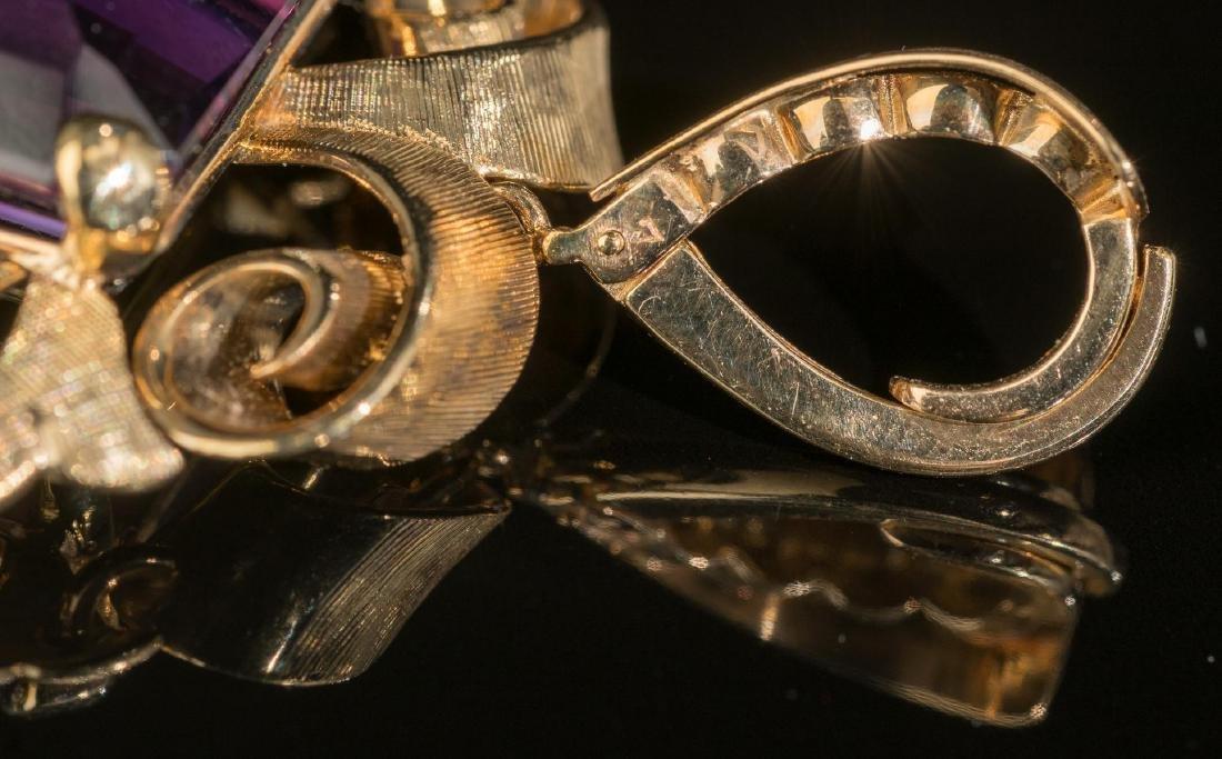 Estate Purple Amethyst & 14k Gold Pendant - 3
