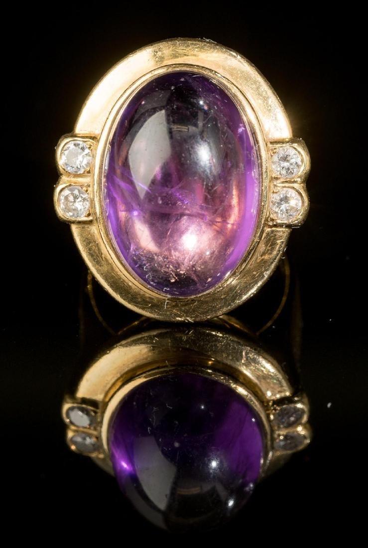 Purple Amethyst & 18k Gold Ring
