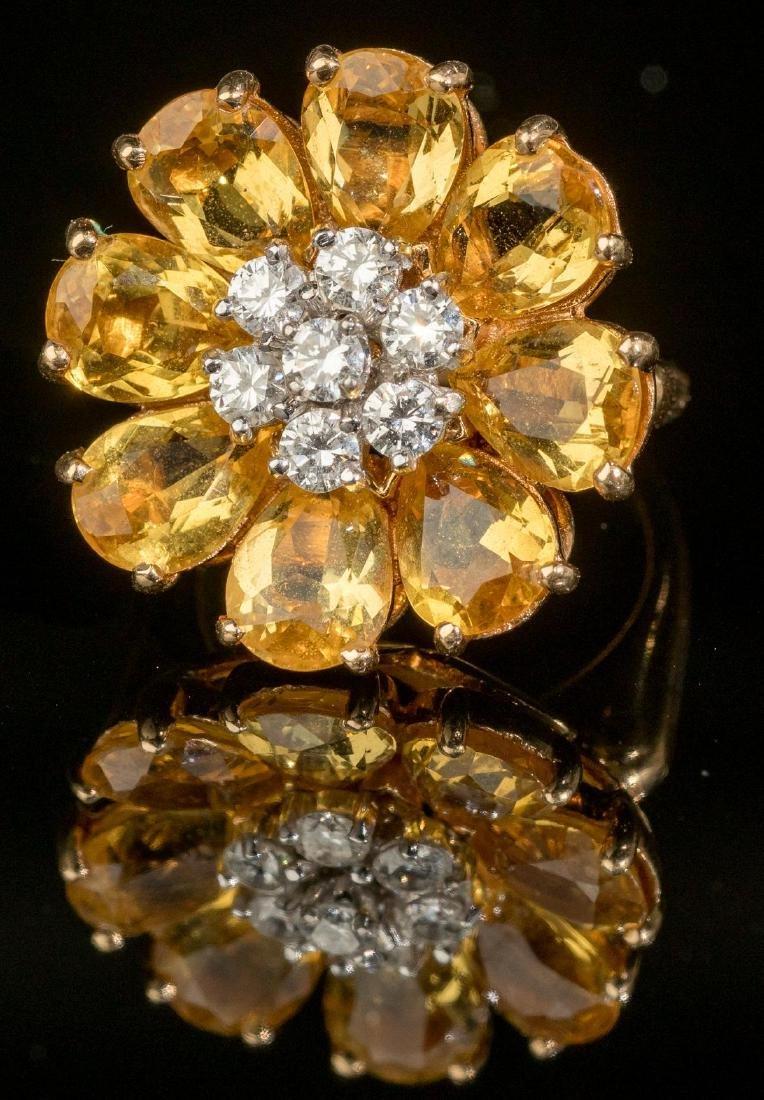 Diamond & Citrine 14k Gold Flower Ring