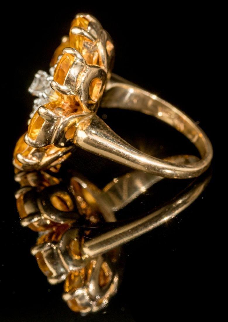 Diamond & Citrine 14k Gold Flower Ring - 2