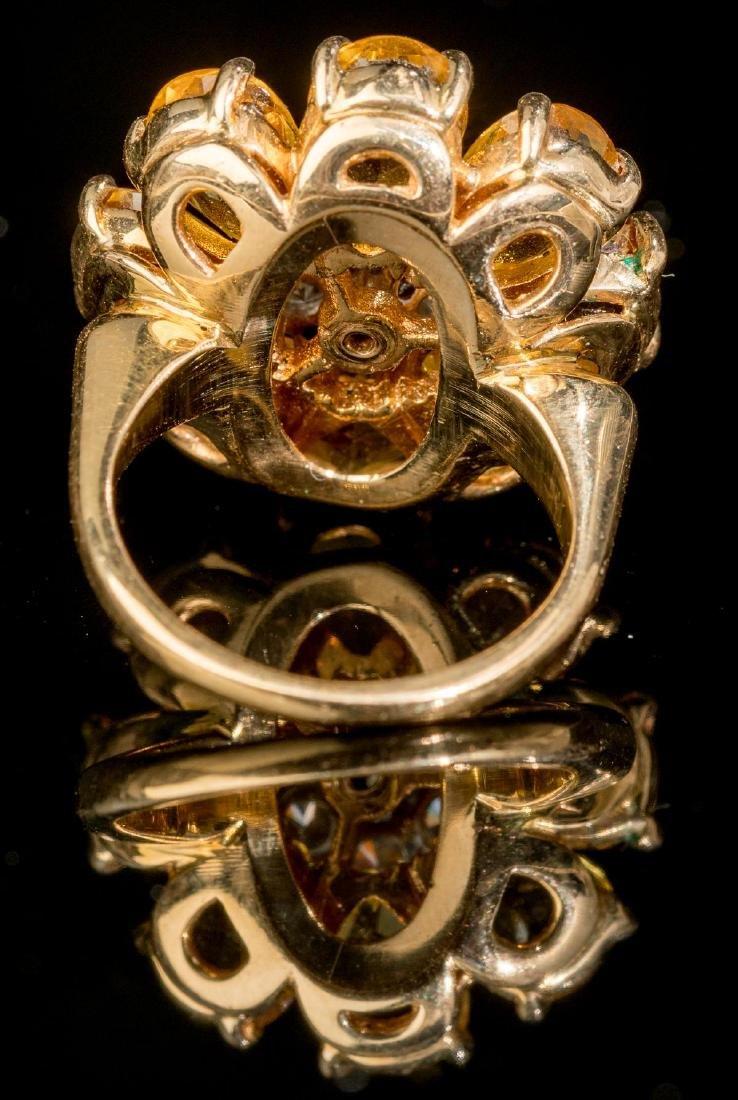 Diamond & Citrine 14k Gold Flower Ring - 3