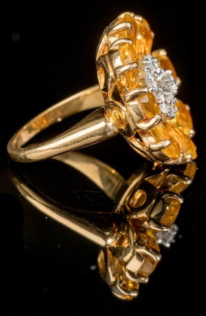 Diamond & Citrine 14k Gold Flower Ring - 4