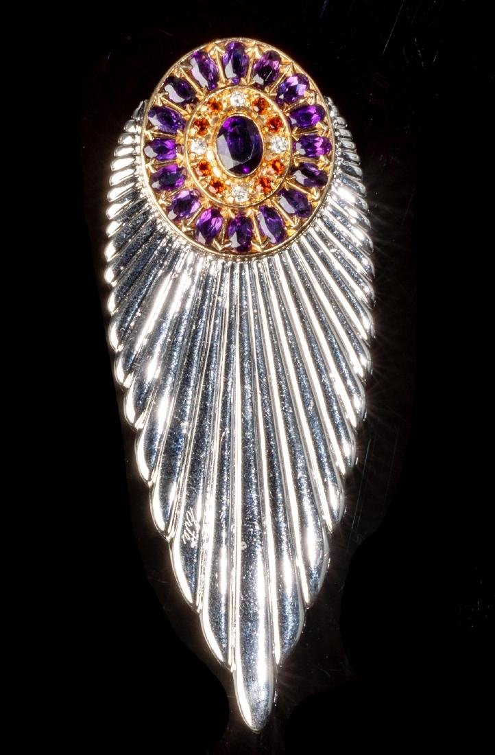 "Erte, French ""Plume"" Vintage Diamond, Sapphire Pin"