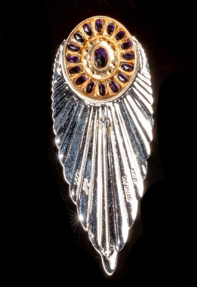 "Erte, French ""Plume"" Vintage Diamond, Sapphire Pin - 2"