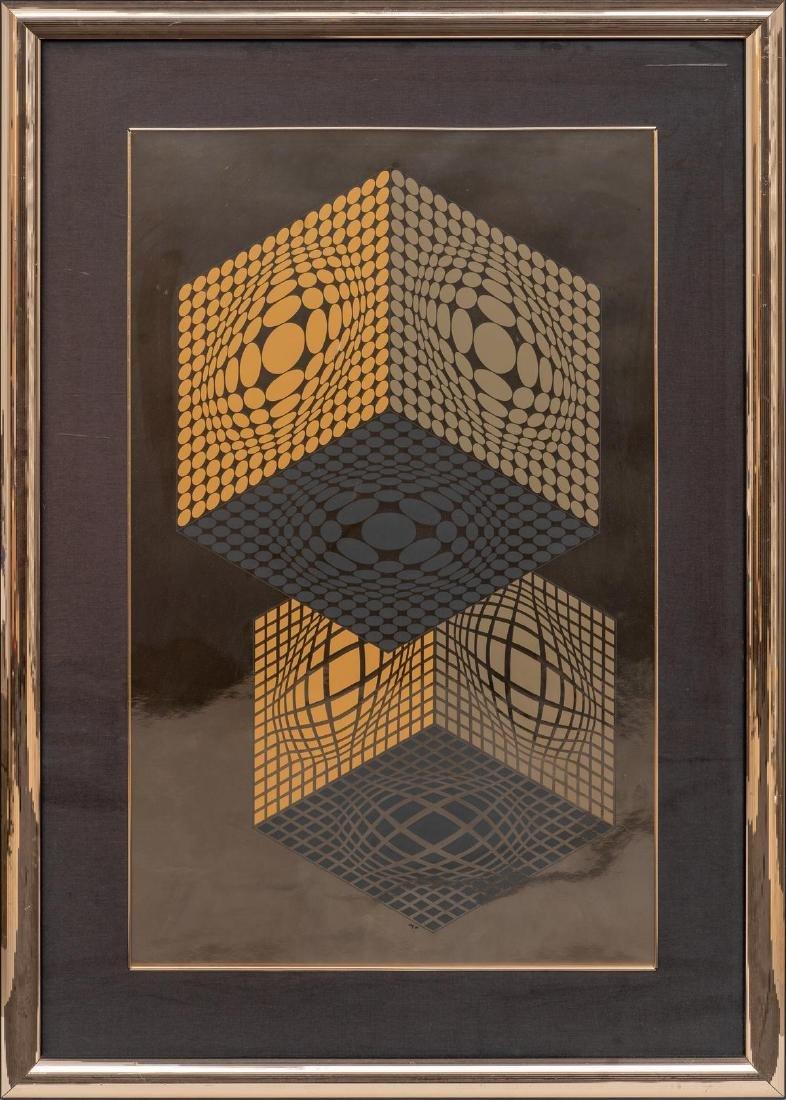 "Victor Vasarely (1906-1997), ""Vega Kocka"", Serigraph on"