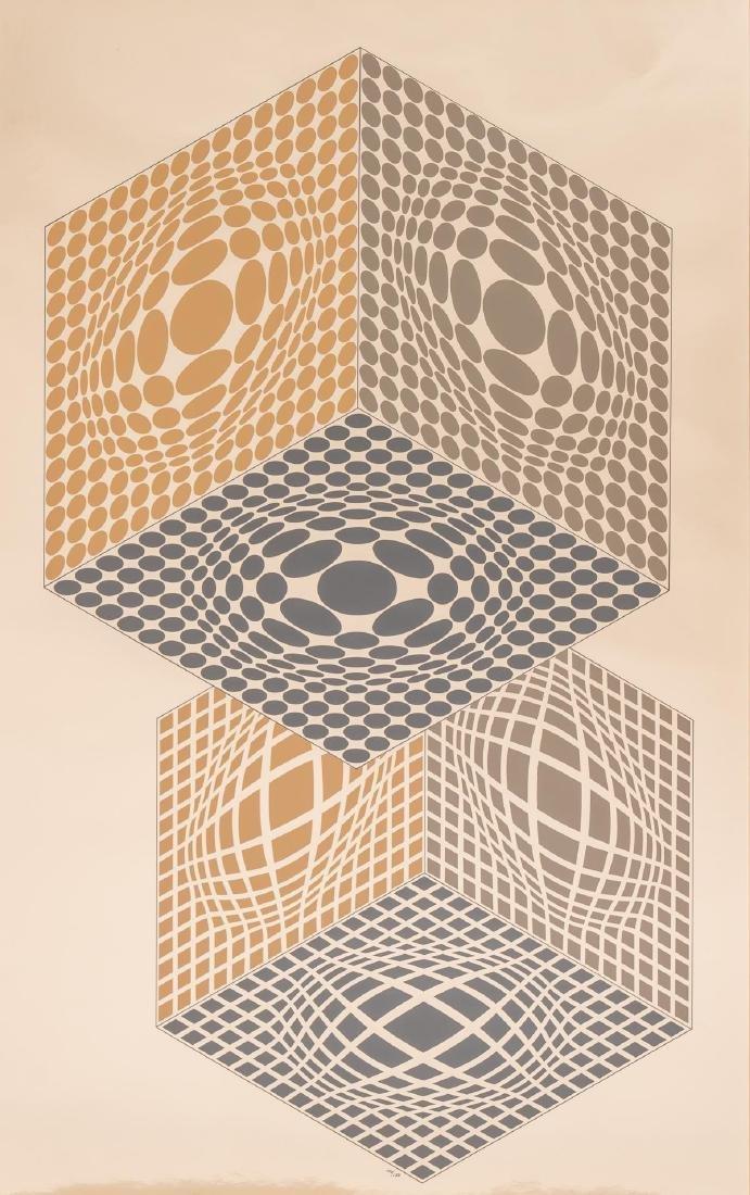 "Victor Vasarely (1906-1997), ""Vega Kocka"", Serigraph on - 2"