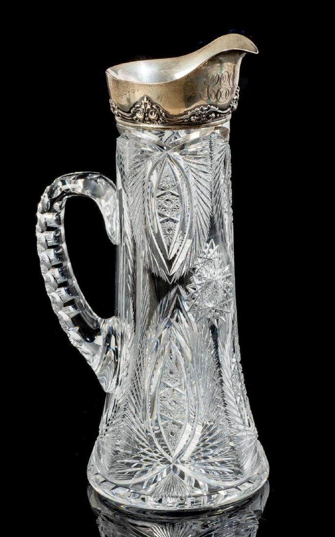 Gorham Cut Glass and Sterling Pitcher