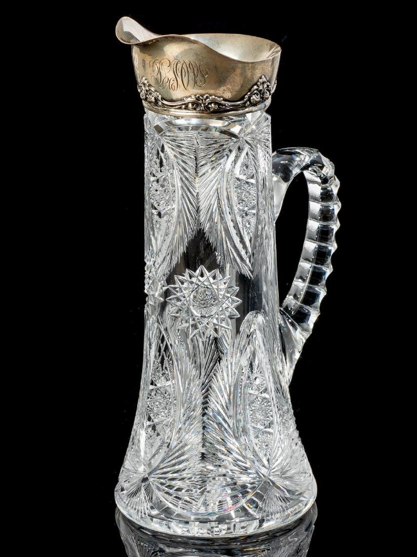 Gorham Cut Glass and Sterling Pitcher - 4
