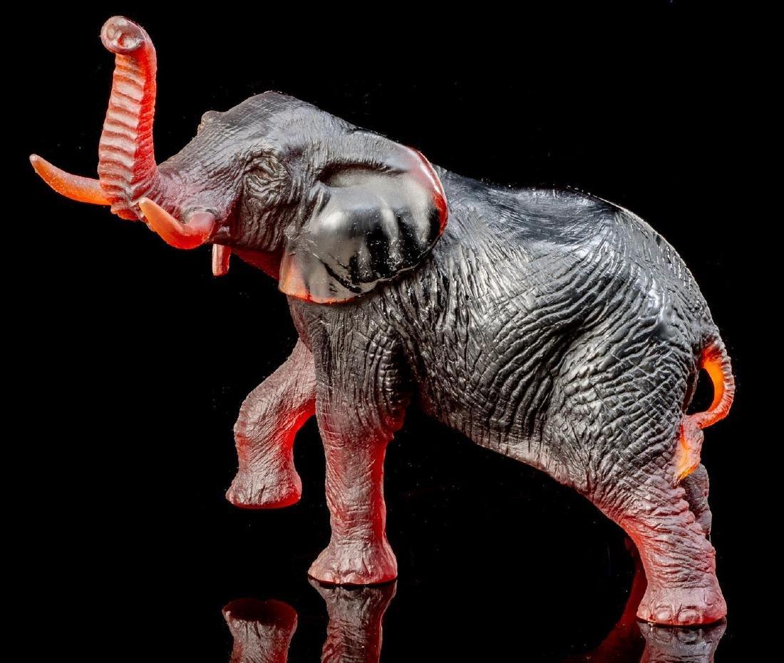Daum French Art Glass Amber Elephant