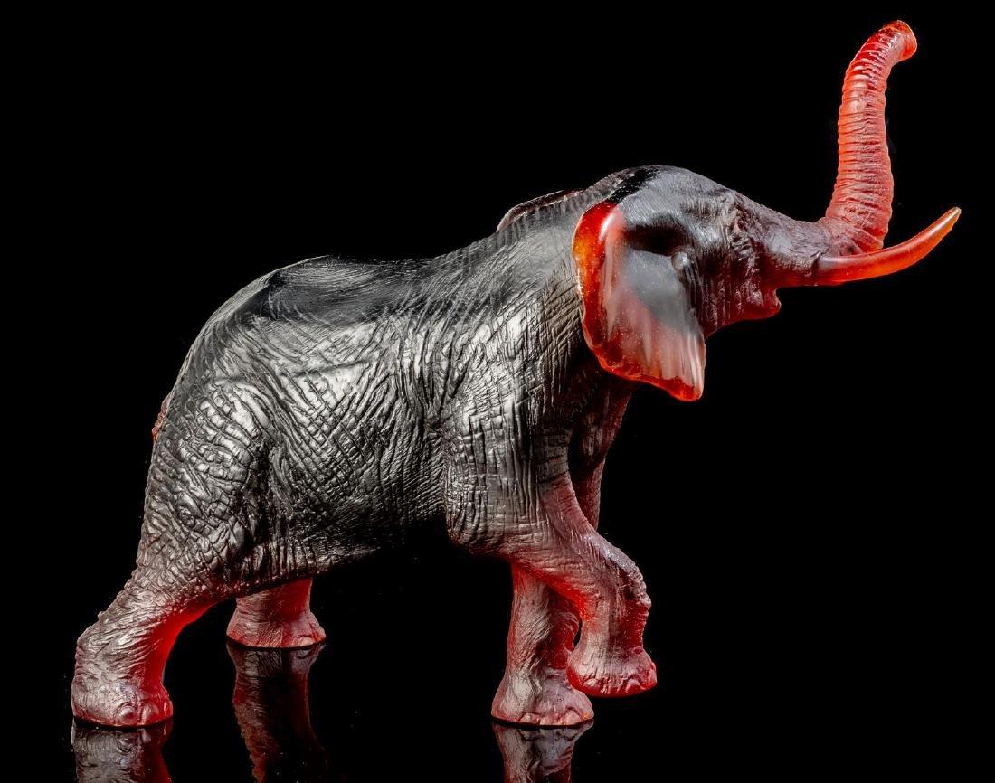 Daum French Art Glass Amber Elephant - 3