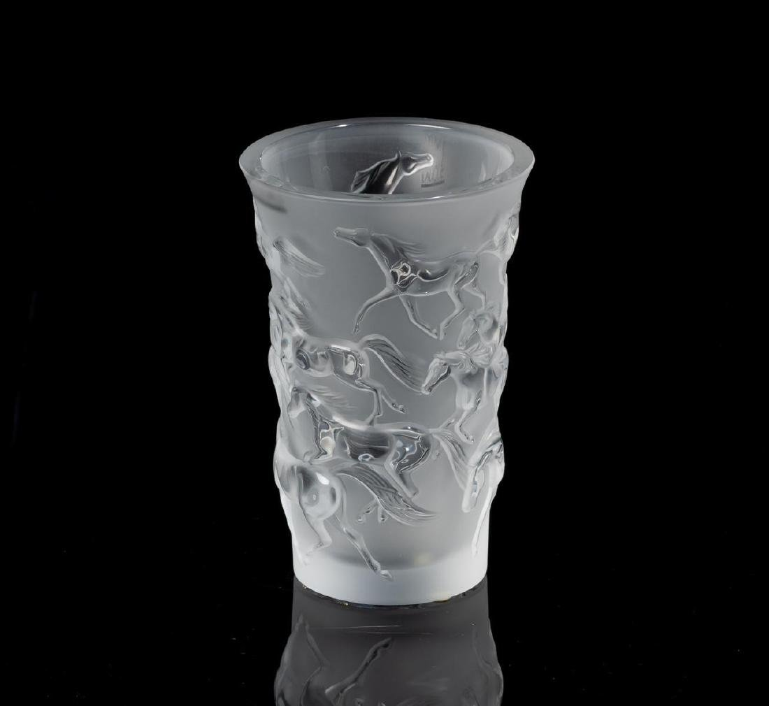 "Lalique French Art Glass ""Mustang"" Horses Vase - 2"