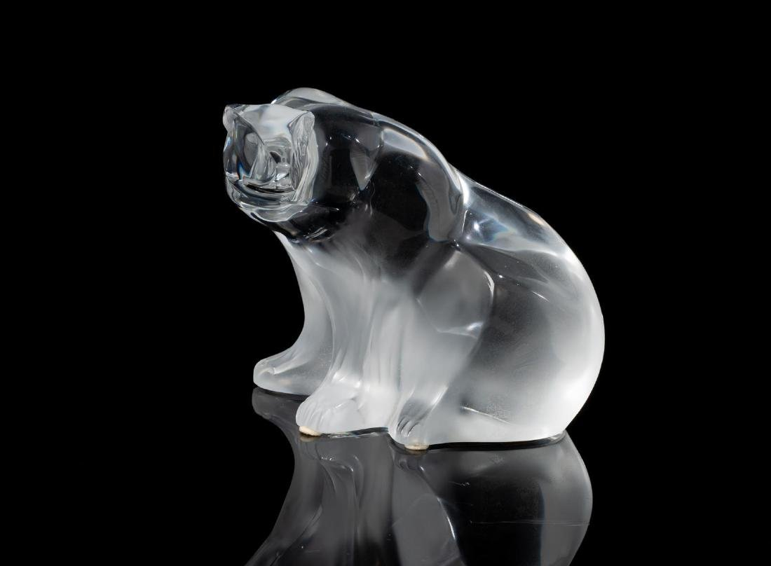 "Lalique French Art Glass ""Polar Bear"" Crystal Sculpture"