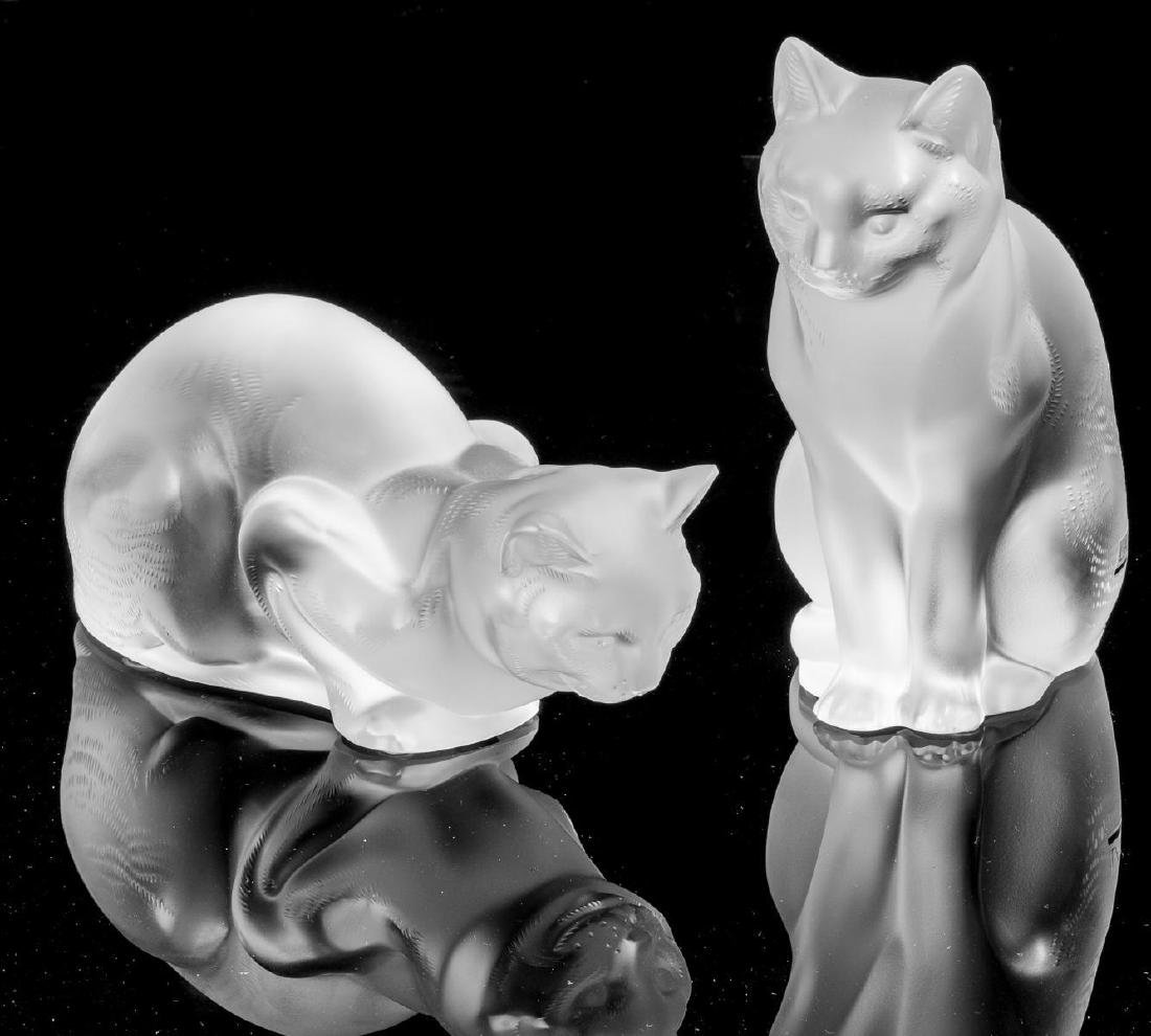 Lalique French Art Glass Cat Crystal Sculptures