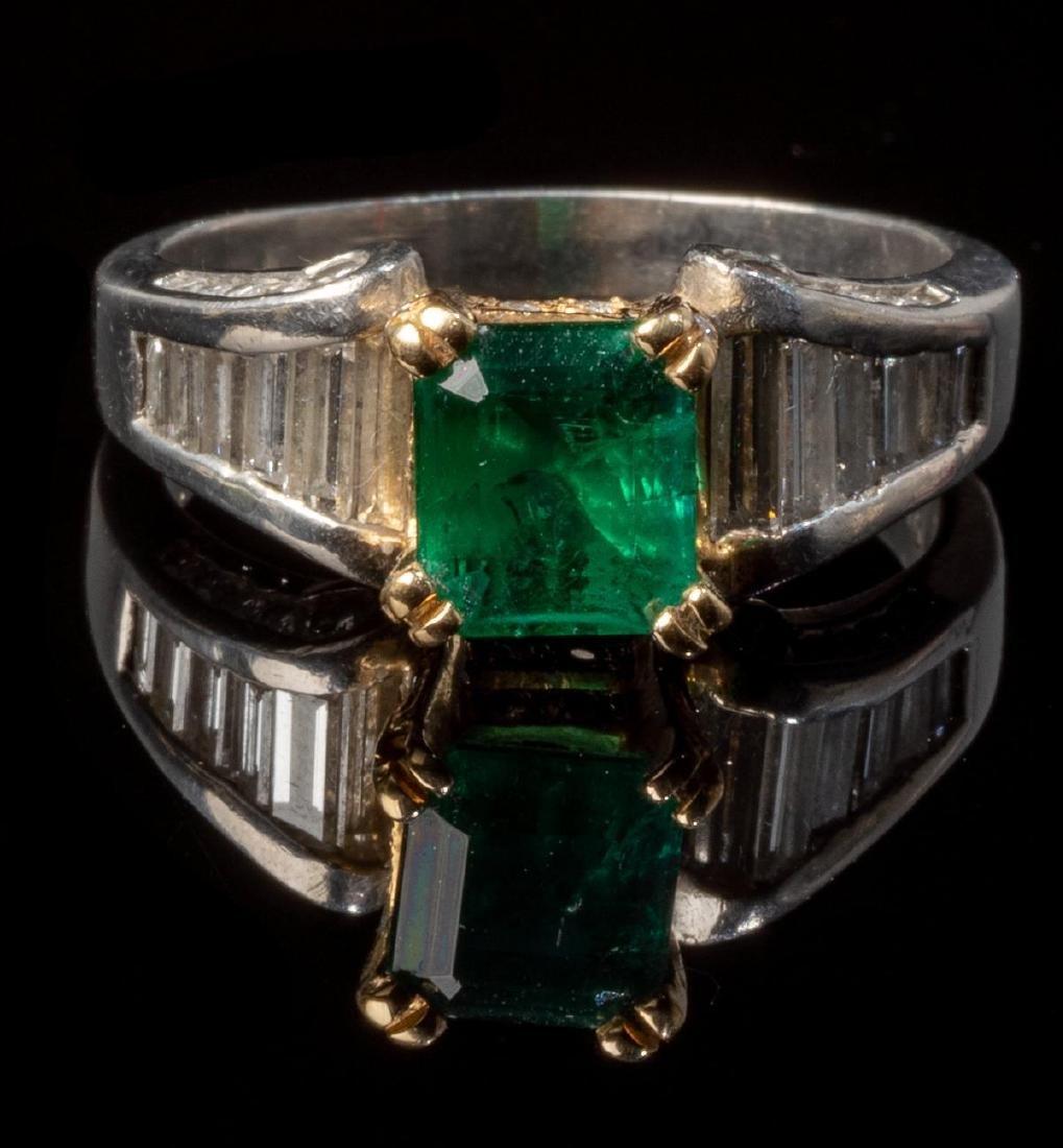 Ladies' Diamond & Emerald Platinum Ring