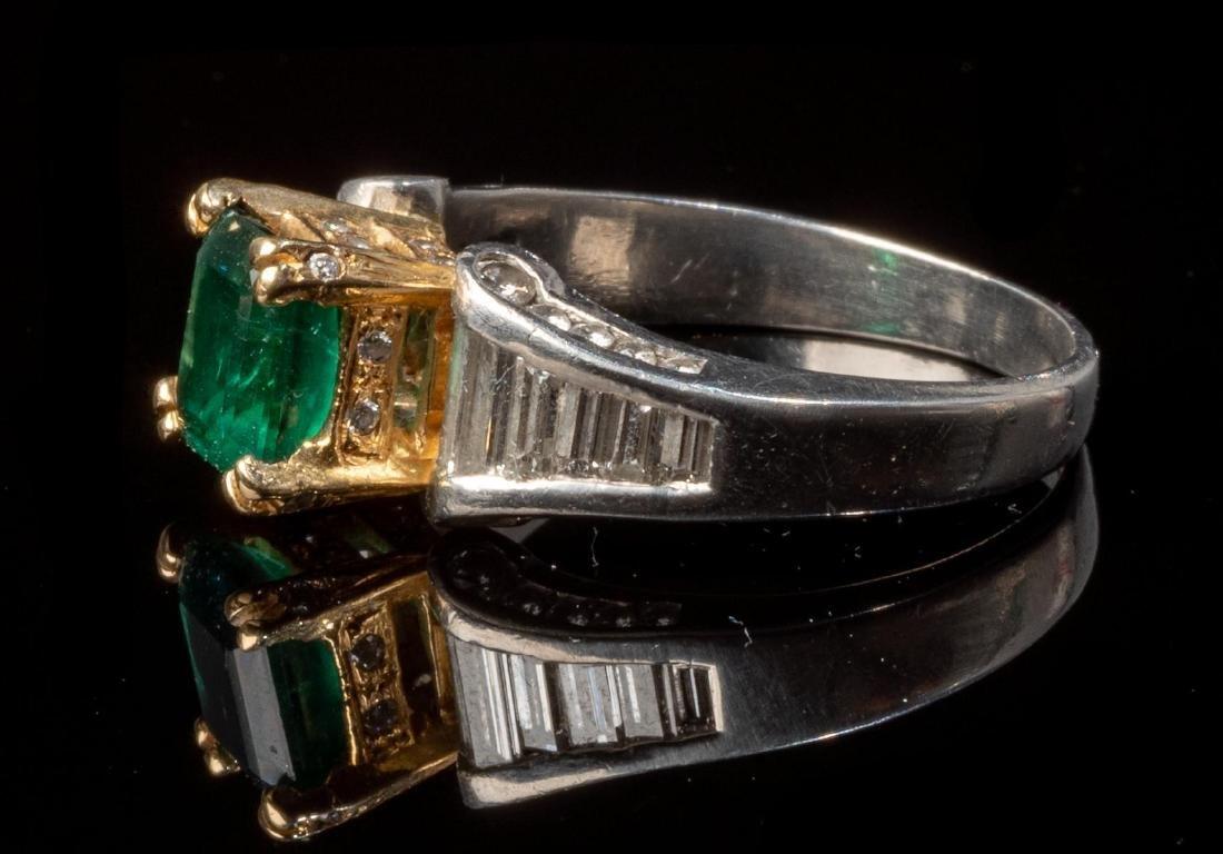 Ladies' Diamond & Emerald Platinum Ring - 2