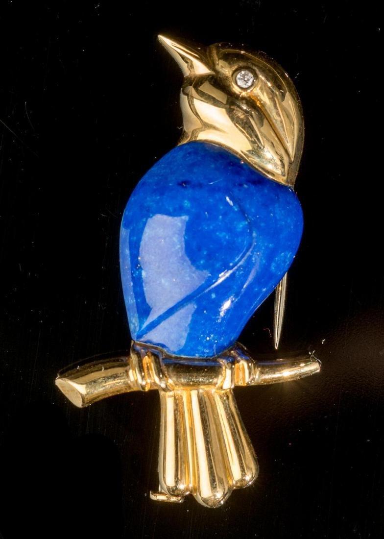 Carved Lapis & 14k Gold Bird Pin
