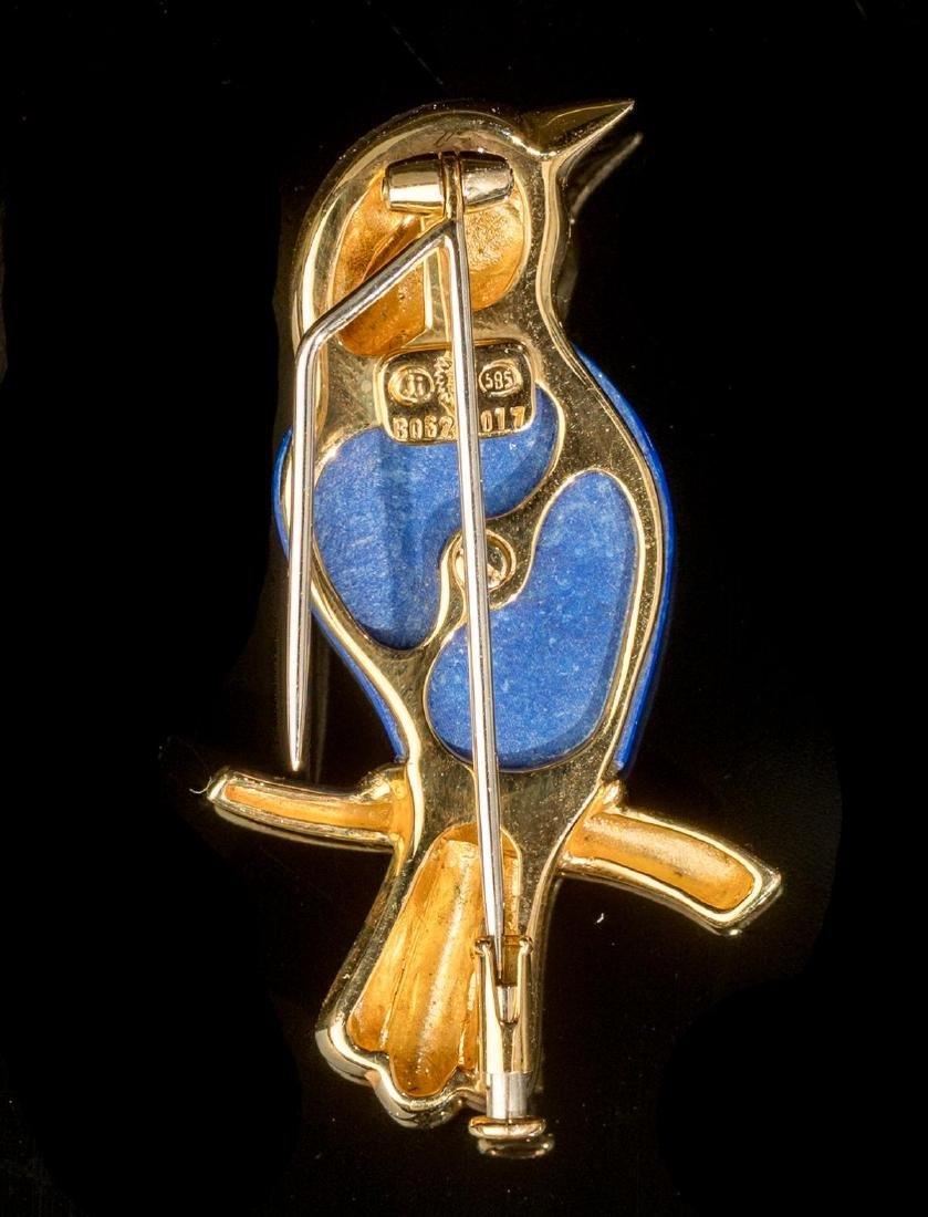 Carved Lapis & 14k Gold Bird Pin - 2