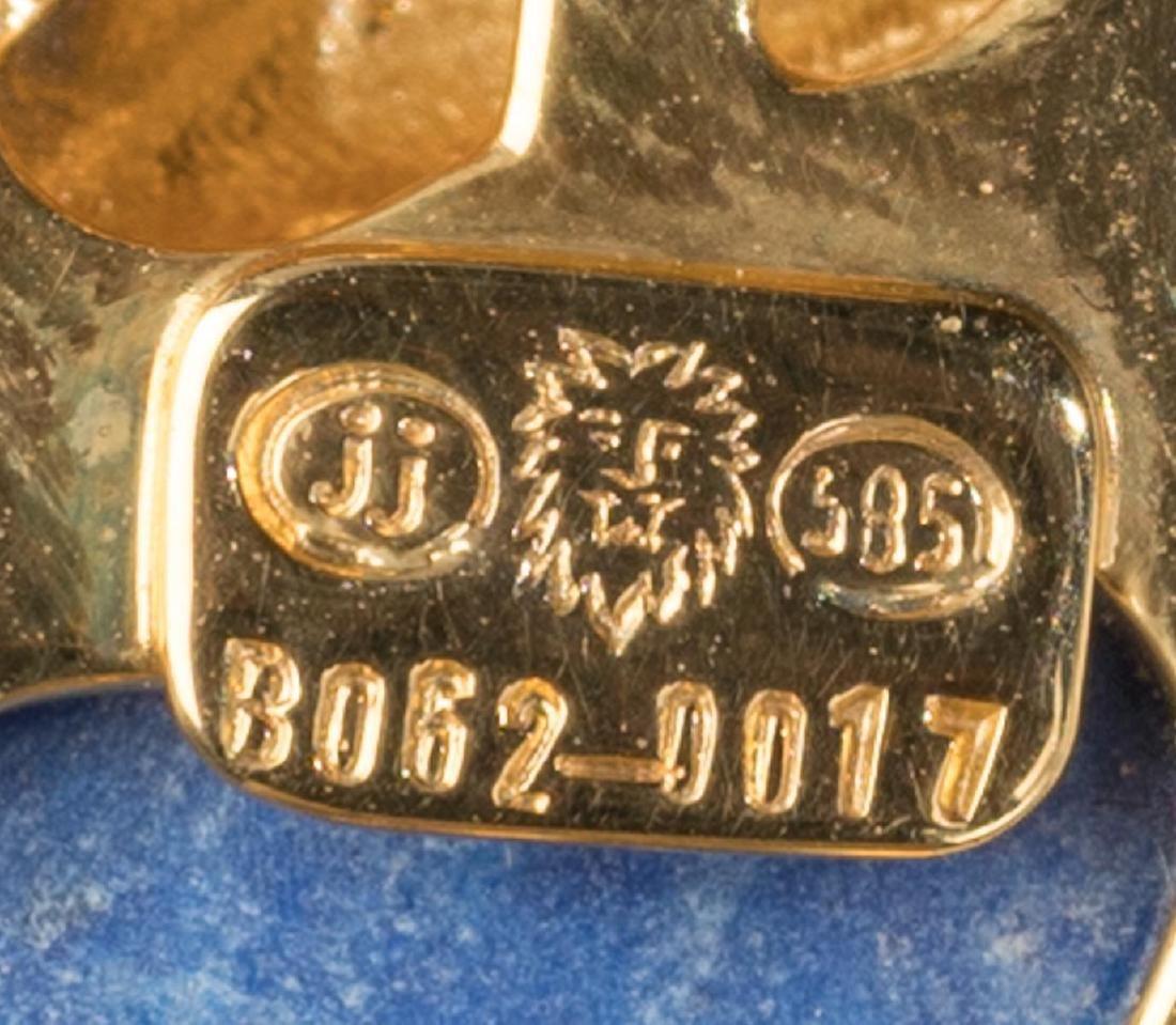 Carved Lapis & 14k Gold Bird Pin - 3