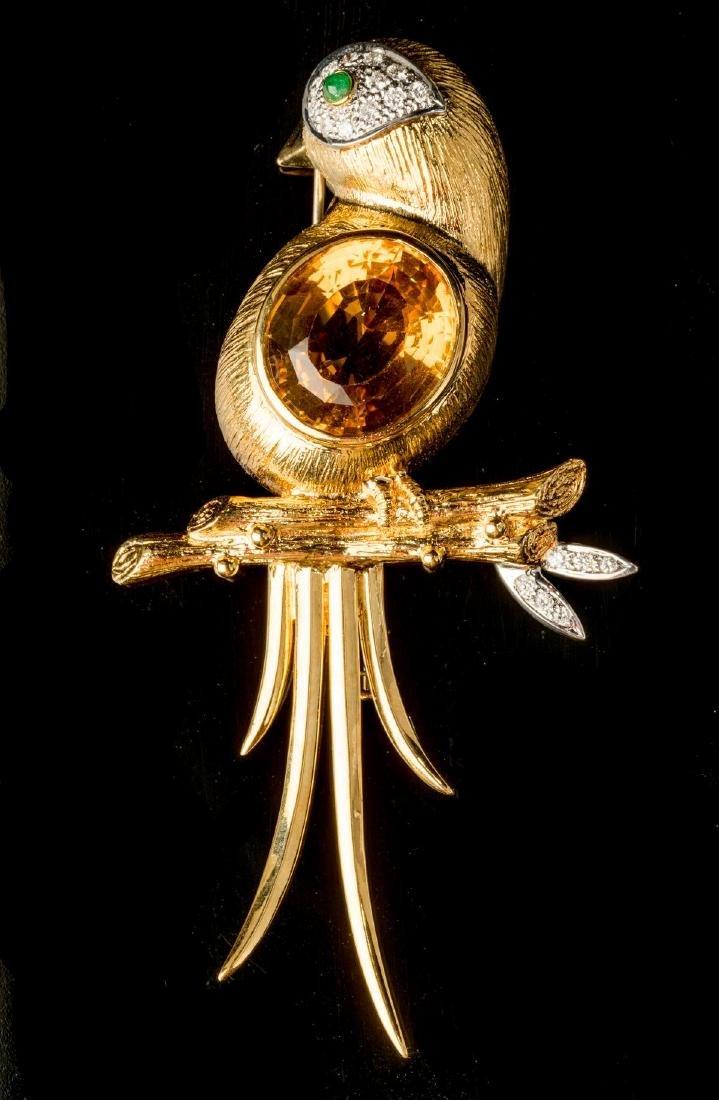 Diamond, Citrine, 18k Gold Bird Pin