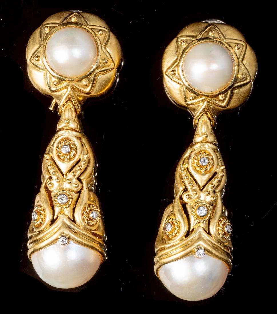Diamond & Pearl 14k Gold Earrings