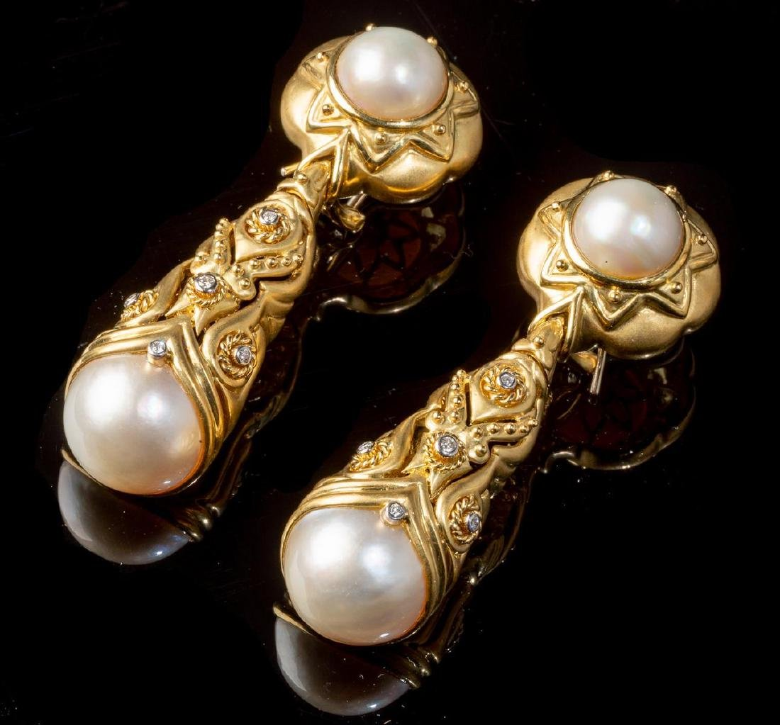 Diamond & Pearl 14k Gold Earrings - 2
