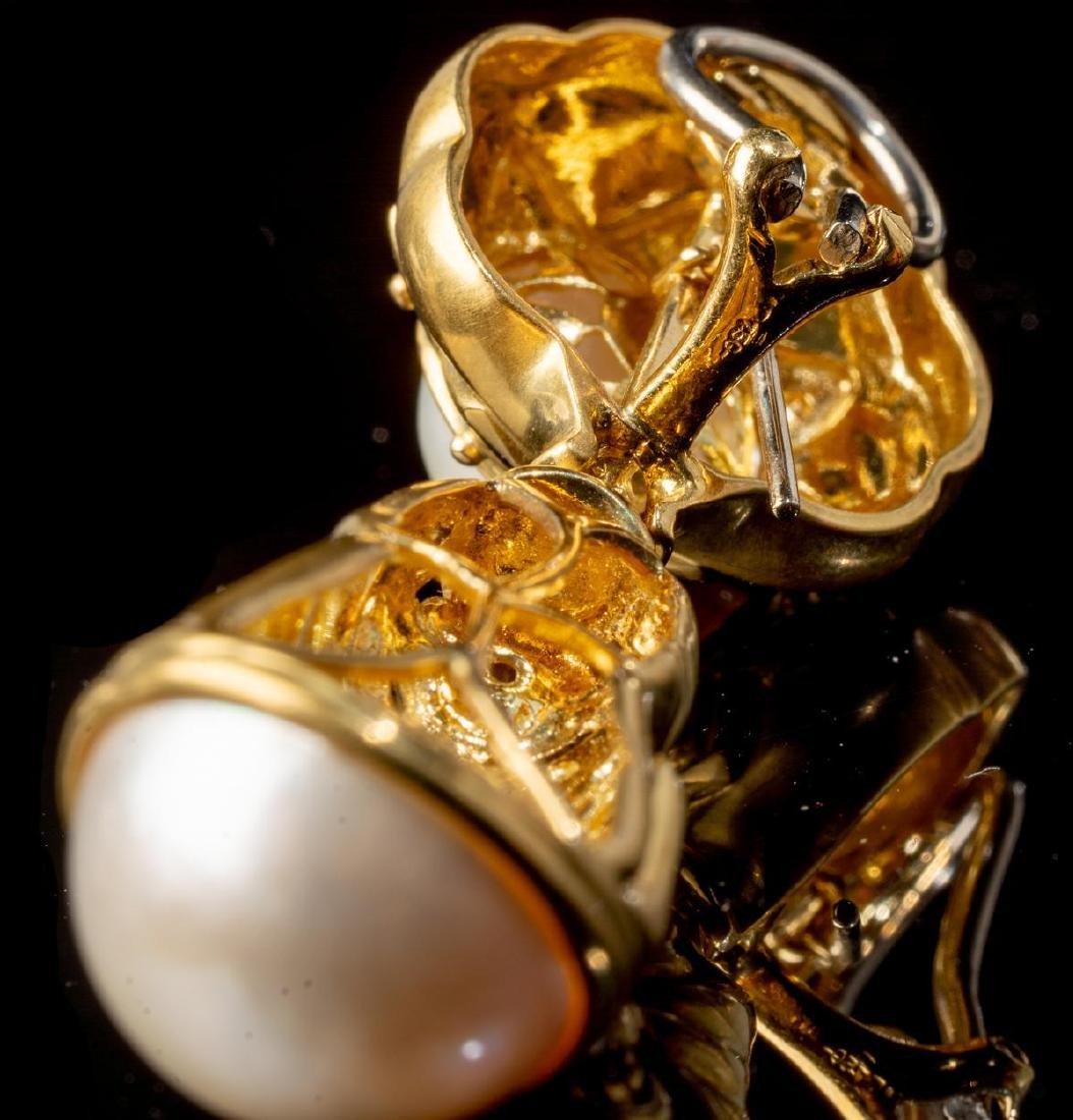 Diamond & Pearl 14k Gold Earrings - 4