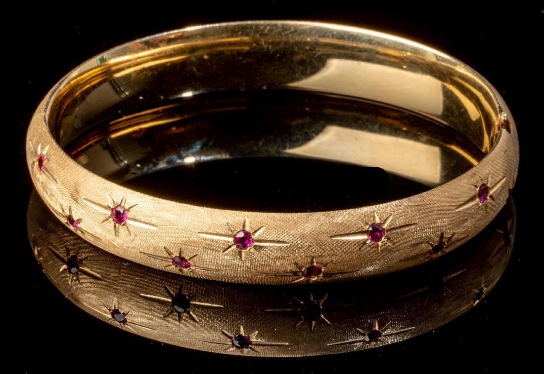 Ruby & 14k Gold Starburst Style Bracelet