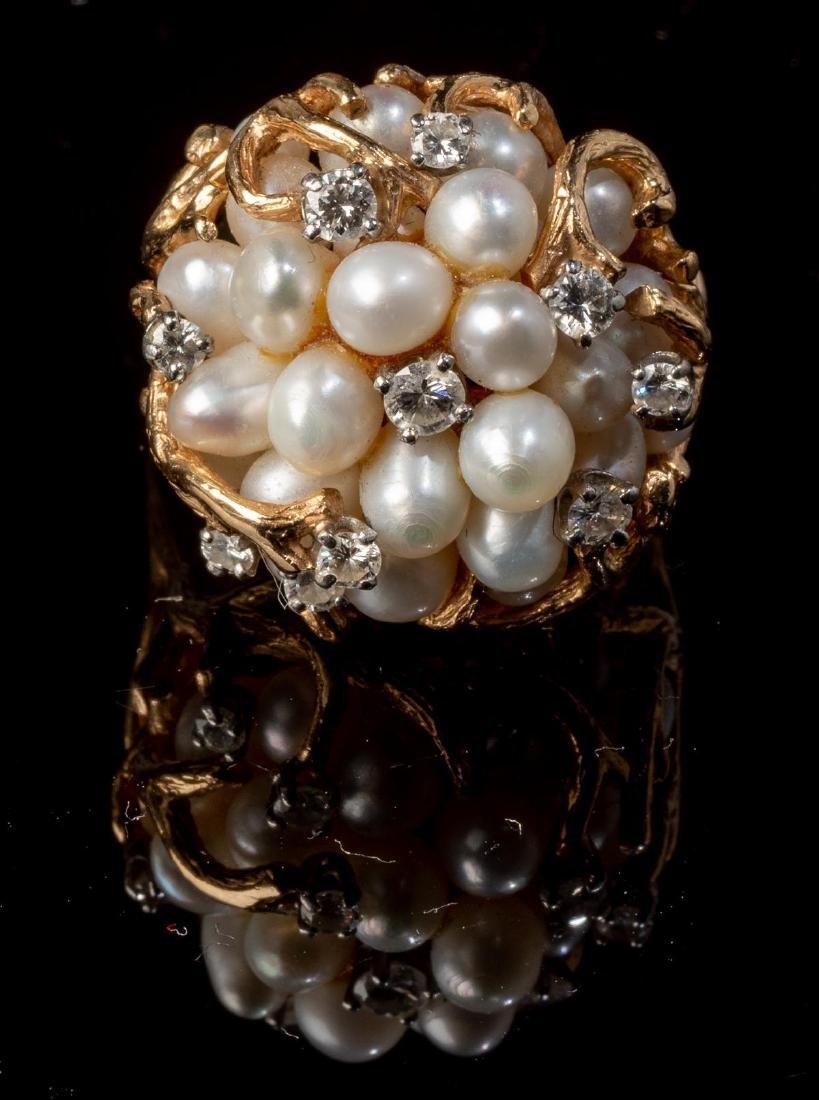 Ladies' Diamond & Pearl 14k Gold Cocktail Ring - 2