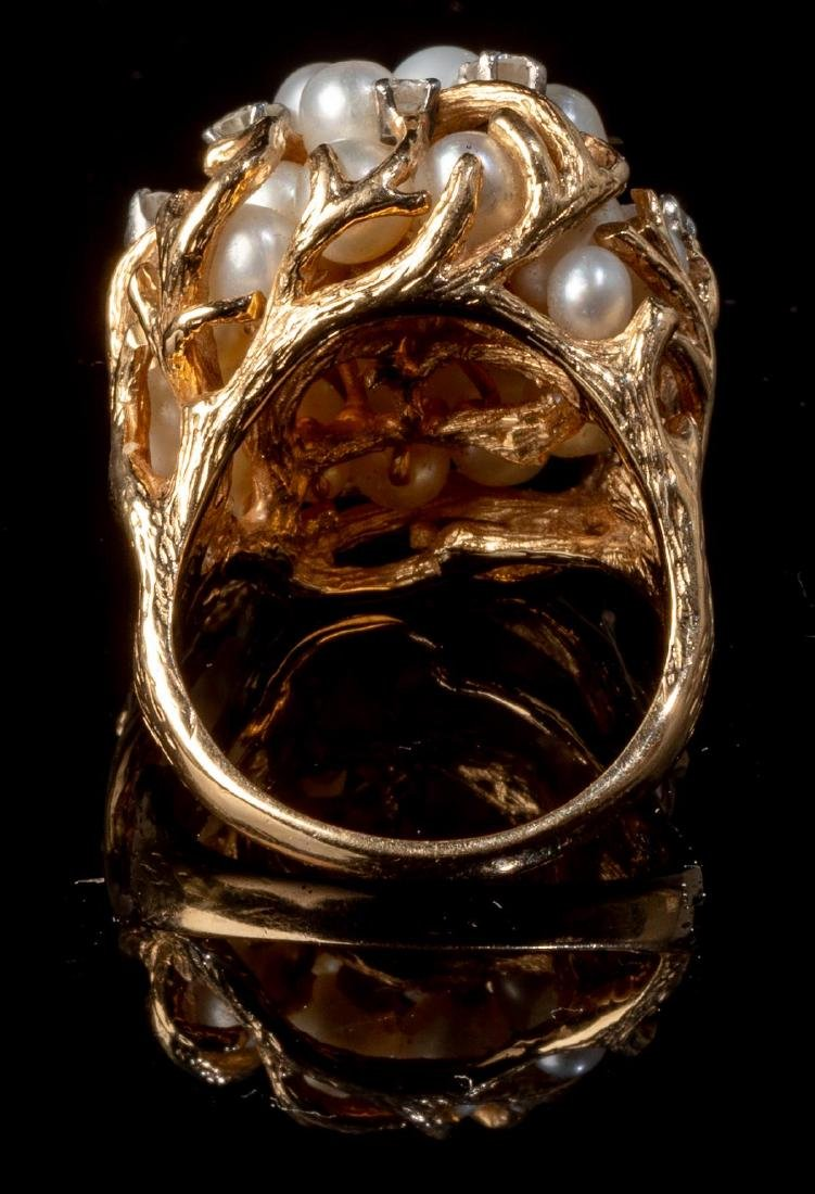 Ladies' Diamond & Pearl 14k Gold Cocktail Ring - 3