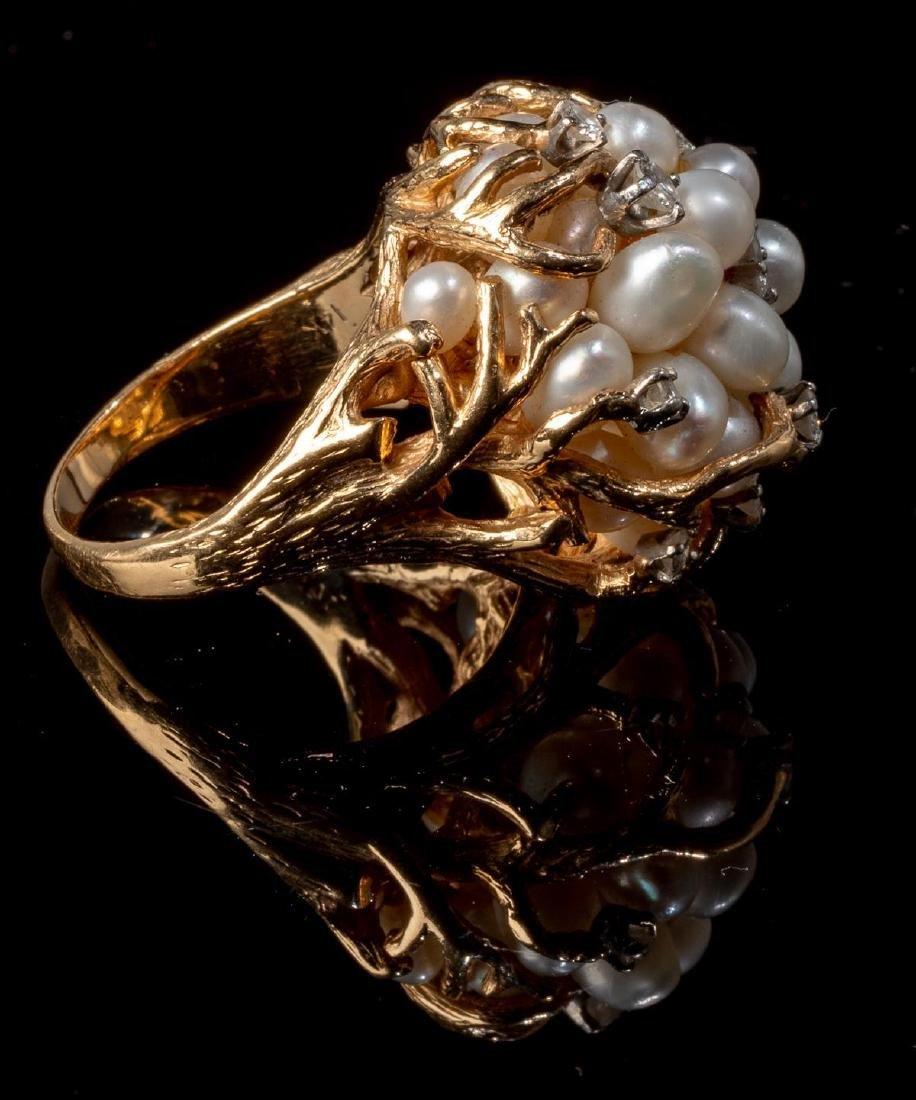 Ladies' Diamond & Pearl 14k Gold Cocktail Ring - 4