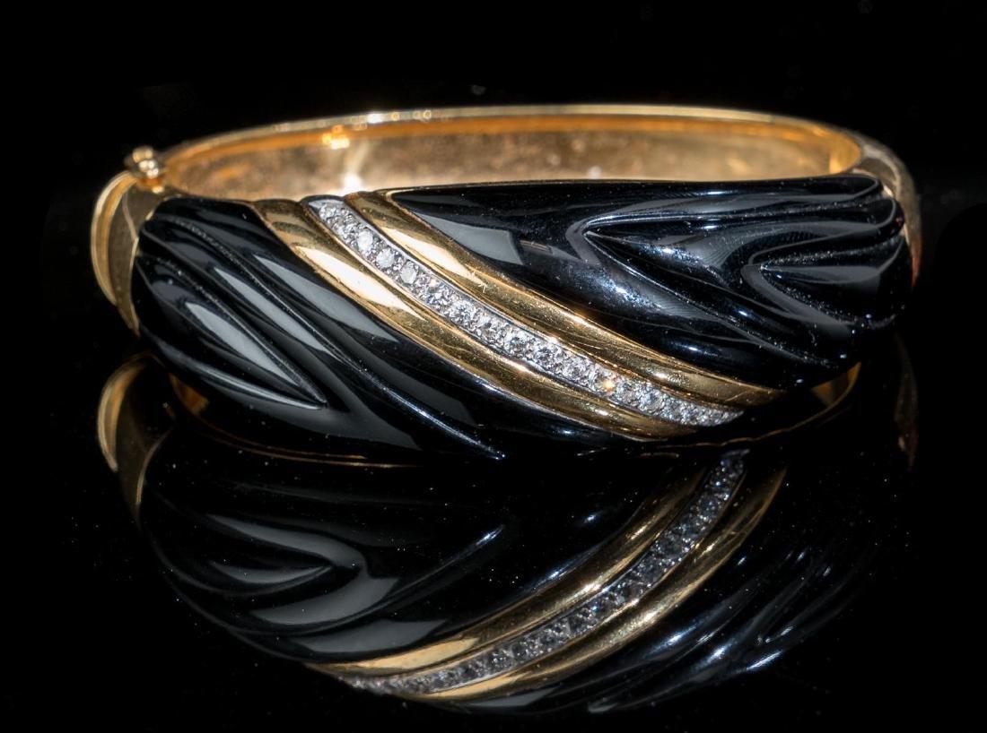 Diamond, Onyx, 18k Gold Bracelet