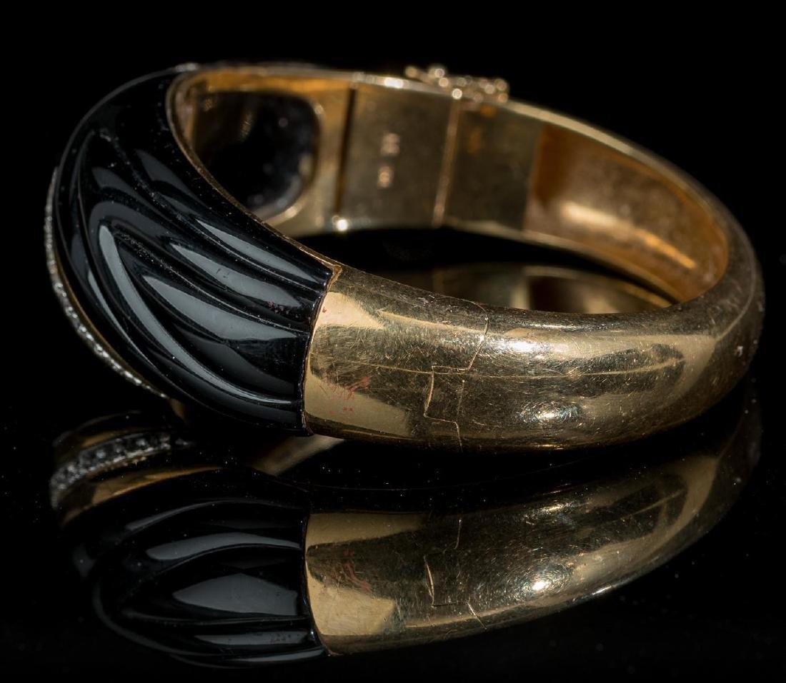 Diamond, Onyx, 18k Gold Bracelet - 2