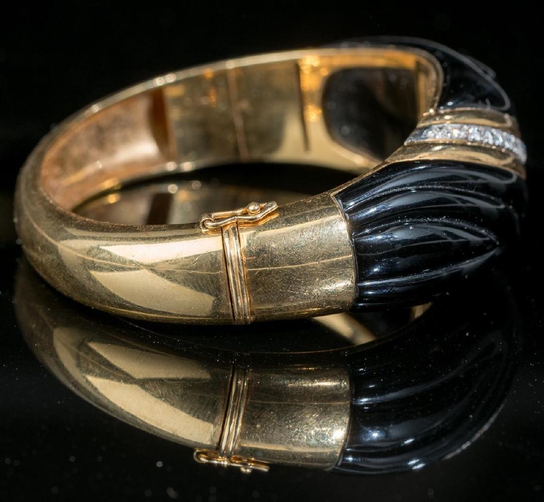 Diamond, Onyx, 18k Gold Bracelet - 4