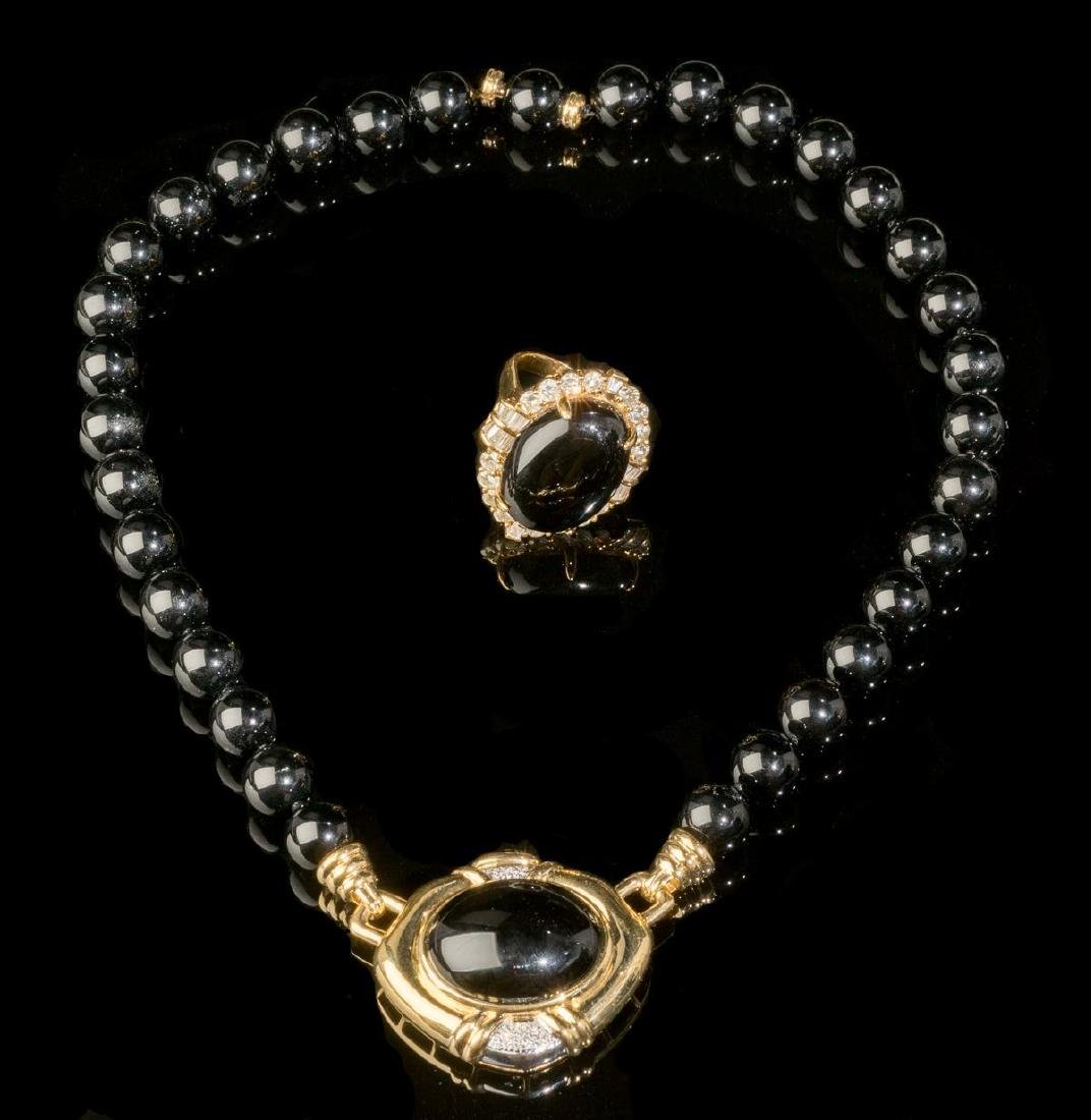Diamond, Black Onyx, Gold Jewelry Suite