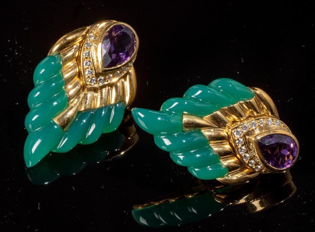 Jade, Amethyst, Diamond Wing Style Earrings