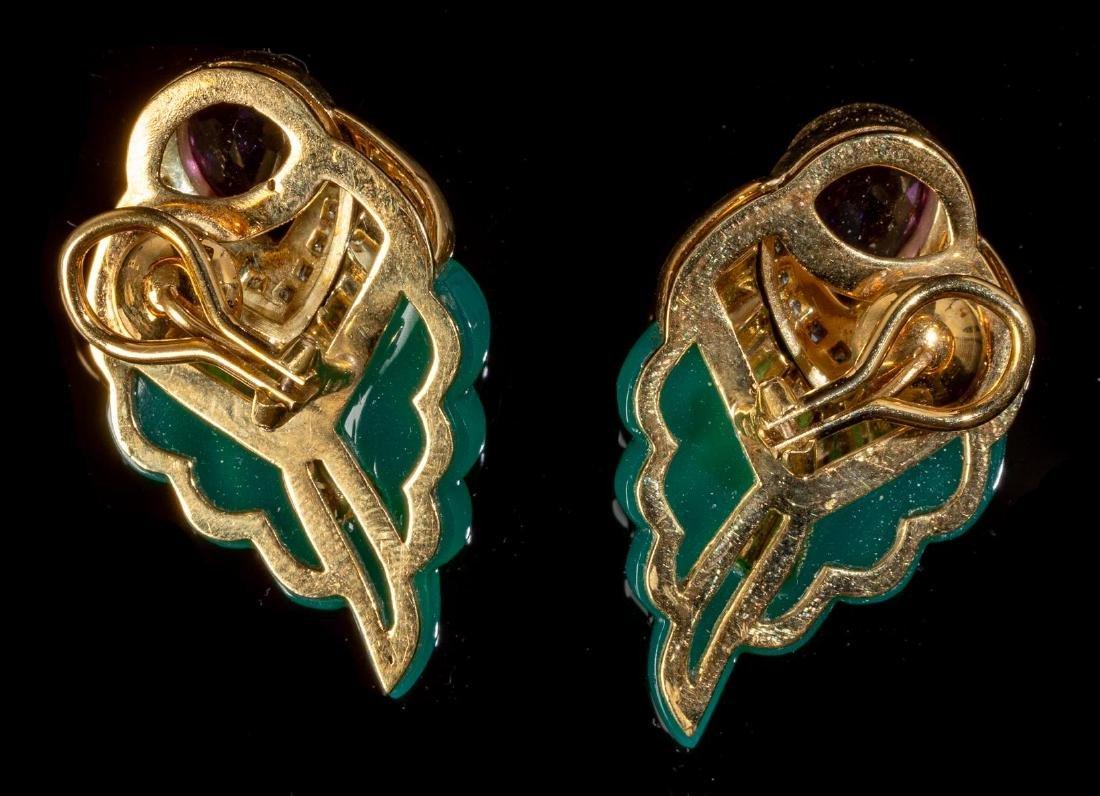 Jade, Amethyst, Diamond Wing Style Earrings - 2