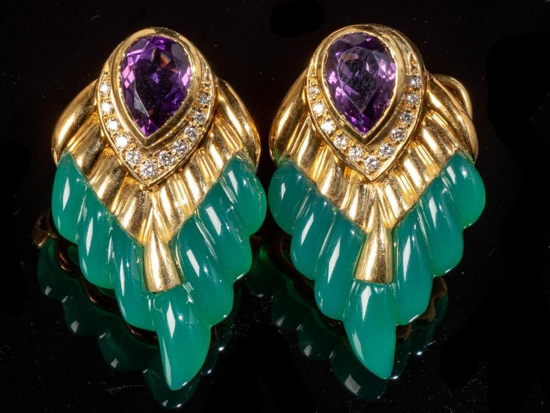 Jade, Amethyst, Diamond Wing Style Earrings - 4