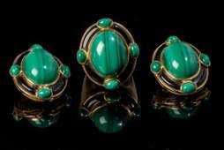 Malachite Onyx  18k Gold Jewelry Suite