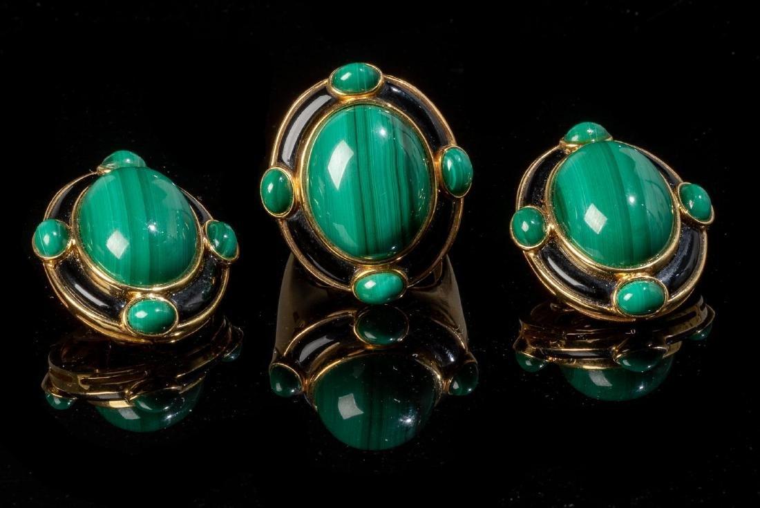 Malachite, Onyx & 18k Gold Jewelry Suite