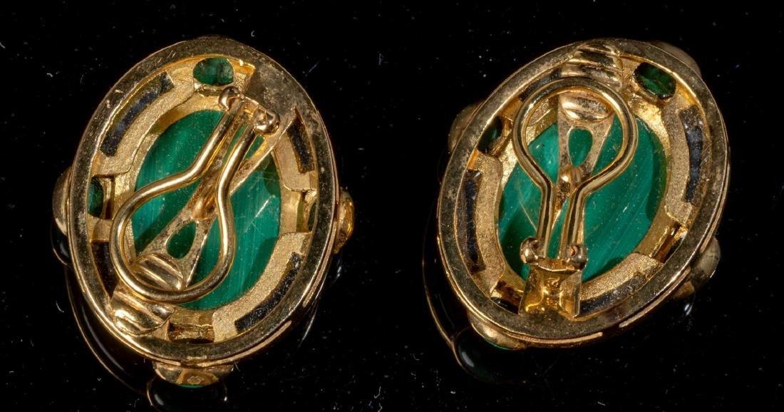 Malachite, Onyx & 18k Gold Jewelry Suite - 2