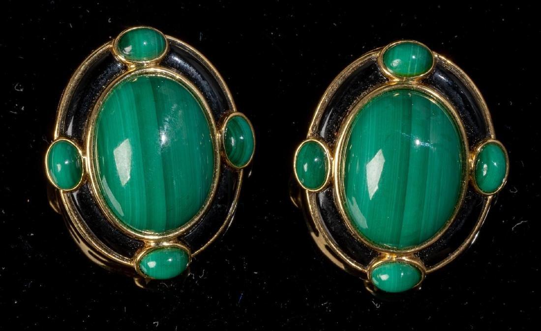 Malachite, Onyx & 18k Gold Jewelry Suite - 3