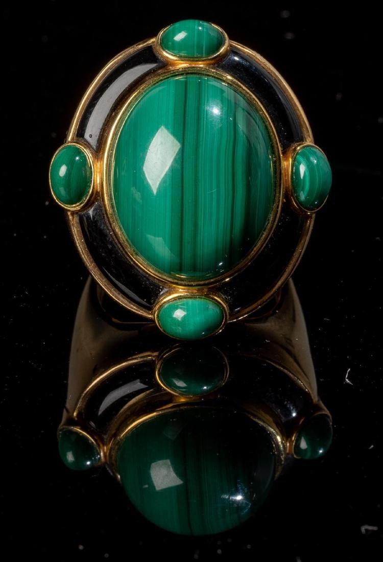 Malachite, Onyx & 18k Gold Jewelry Suite - 4